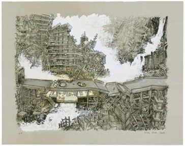 Lithograph Oiwa - Waterfall House