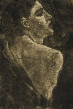 Etching Klinger - Weibliche Halbfigur Schabkunstversuch.