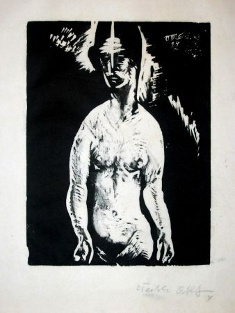 Woodcut Schatz - Weiblicher Akt (Female Nude)