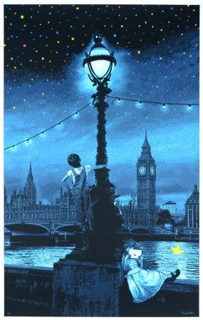 Screenprint Roamcouch - When you wish upon a star - London (blue edition)