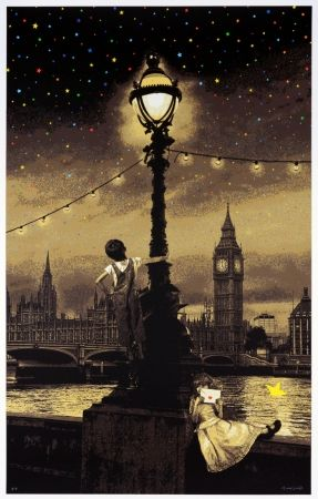 Screenprint Roamcouch - When you wish upon a star - London (sepia edition)