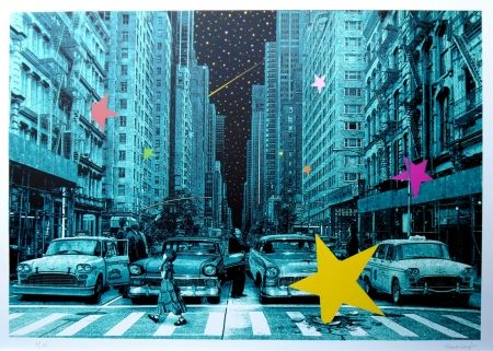 Screenprint Roamcouch - When you wish upon a star NYC (green edition)