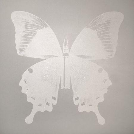 Screenprint Robierb - White Bullet Fly N-1 on Silver