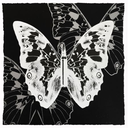 Screenprint Robierb - White Butterfly on Black