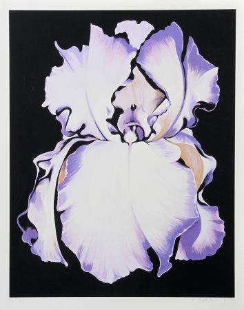Screenprint Nesbitt - White Iris on Black