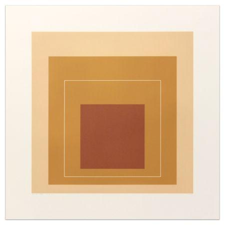 Lithograph Albers - White Lines Square XVI