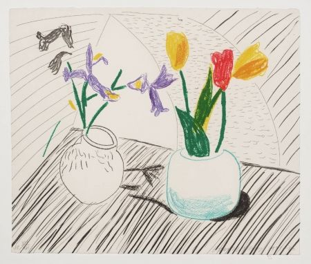 Lithograph Hockney - White Porcelain, From Moving Focus