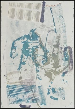Lithograph Rauschenberg - White Walk, from Stoned Moon series
