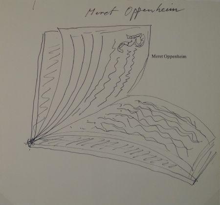 """No Technical Oppenheim - Widmungszeichnung eines aufgeschlagenen Buches mit Initial R. auf dem Vortitel eines Buchs mit gedrucktem Namen """"Meret Oppenheim"""""""