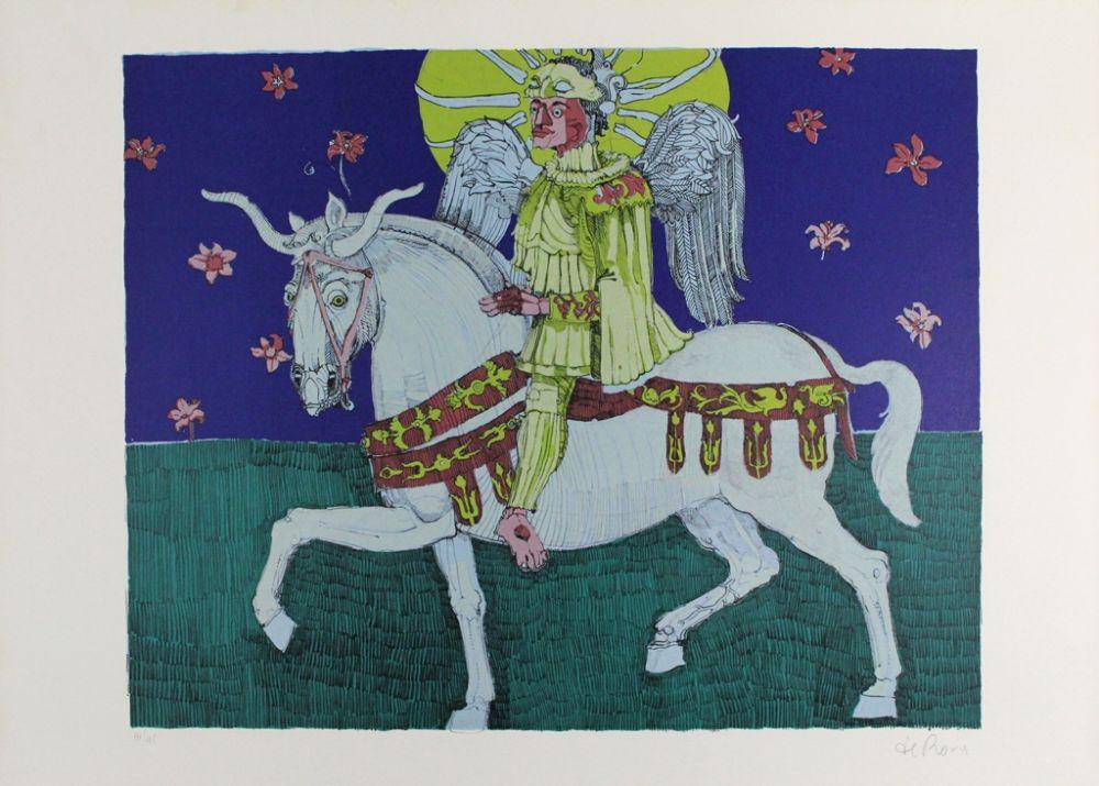 Lithograph De Rosa - Winged Rider