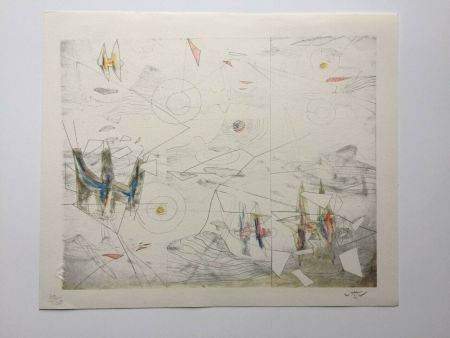 Lithograph Matta - Wings of light (from Morfolgie Verbali)
