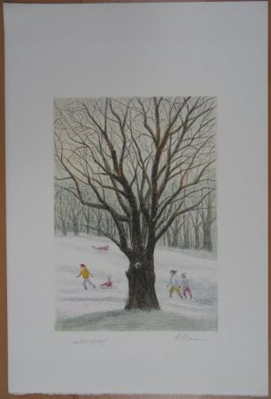 Lithograph Altman - Winter in the Park