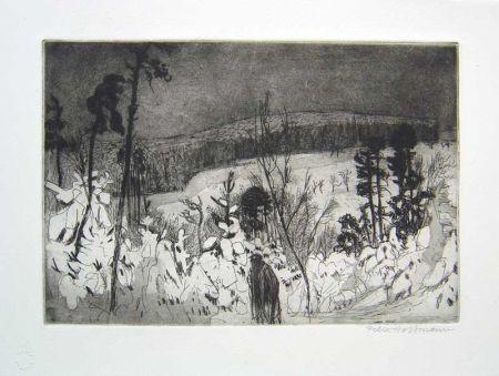 Etching And Aquatint Hoffmann - Winter Wanderer