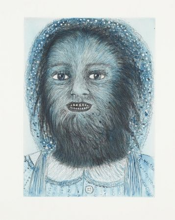 Etching And Aquatint Smith - Wolf Girl, from the Blue Prints series