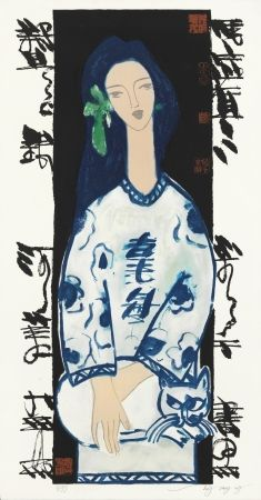 Lithograph Tongzhengang - Woman and cat