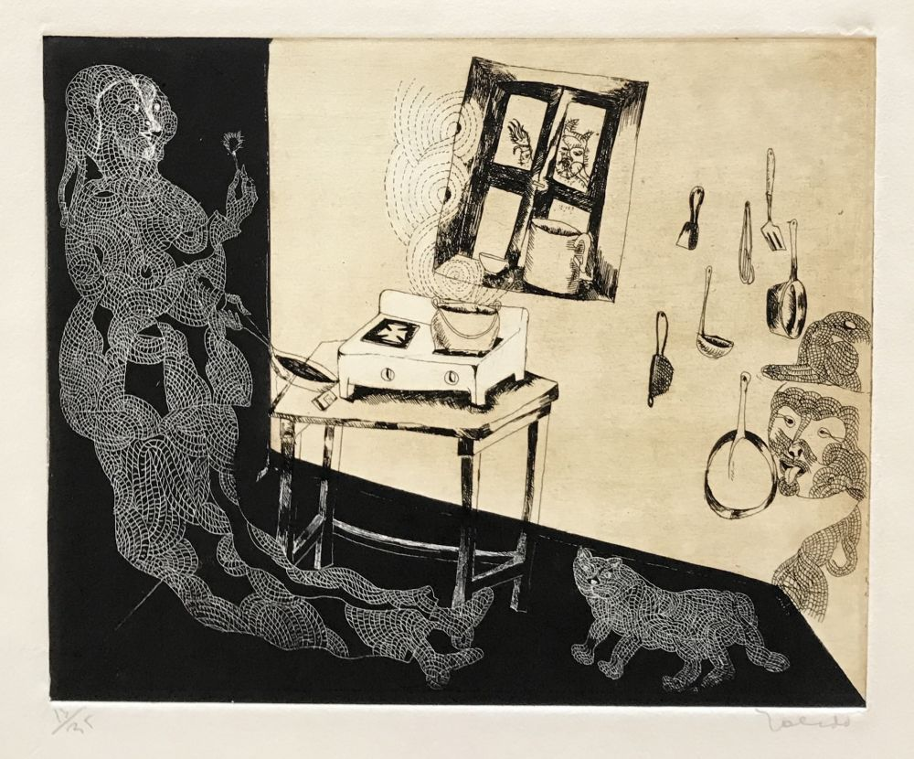 Etching Toledo - Woman and Cat in Kitchen