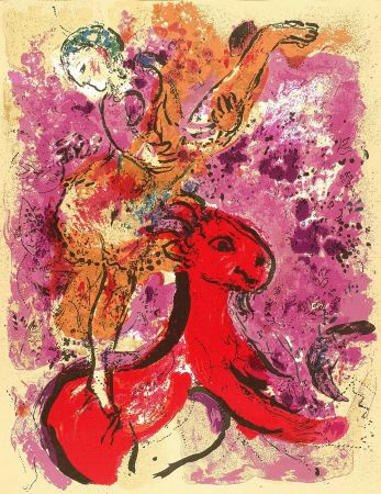 Lithograph Chagall - Woman Circus Rider On Red Horse
