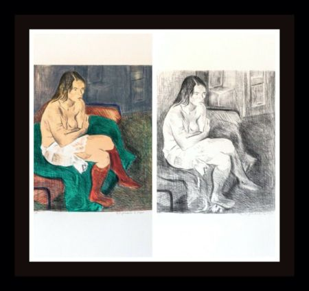 Lithograph Soyer - Woman in Red Stockings Portfolio