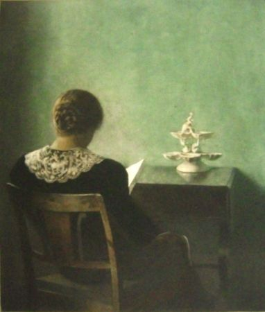 Mezzotint Ilsted - Woman reading