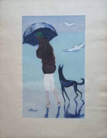 Pochoir Van Dongen - Woman With A Dog Walking On The Beach
