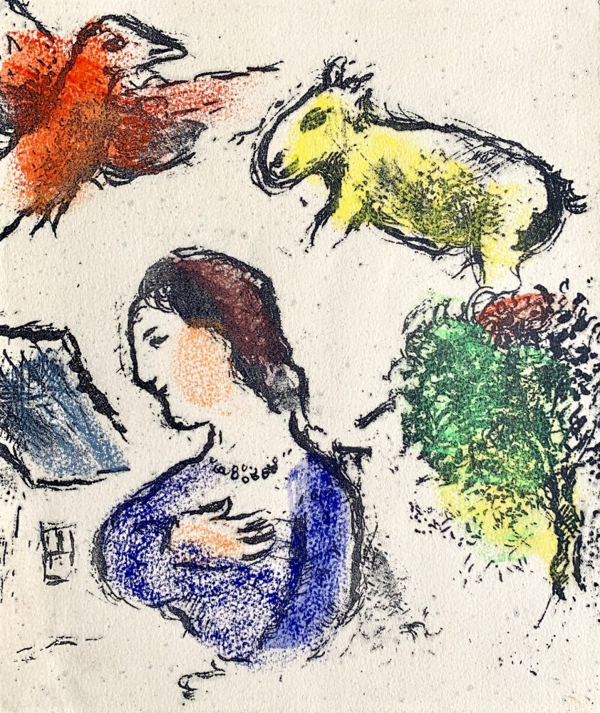 Lithograph Chagall - Woman with animals