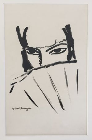 Lithograph Van Dongen - Woman with Fan