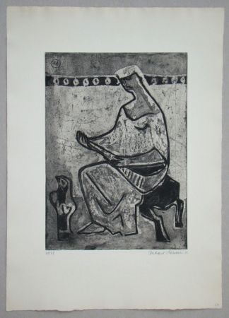 Etching And Aquatint Schlotter - Woman with mandolin