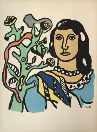 Lithograph Leger - Woman with Tree