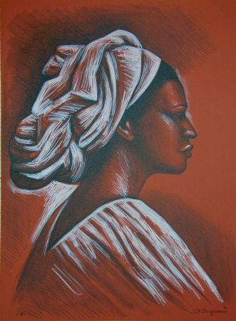 Lithograph Anguiano - Woman with turban
