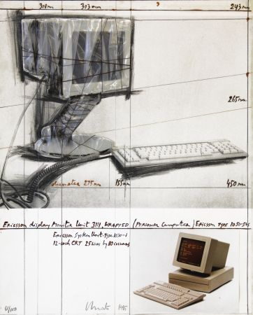 Lithograph Christo - Wrapped Display Monitor