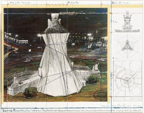 Lithograph Christo - Wrapped Fountain