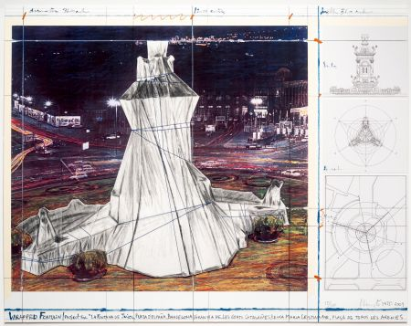 Lithograph Christo - Wrapped Fountain