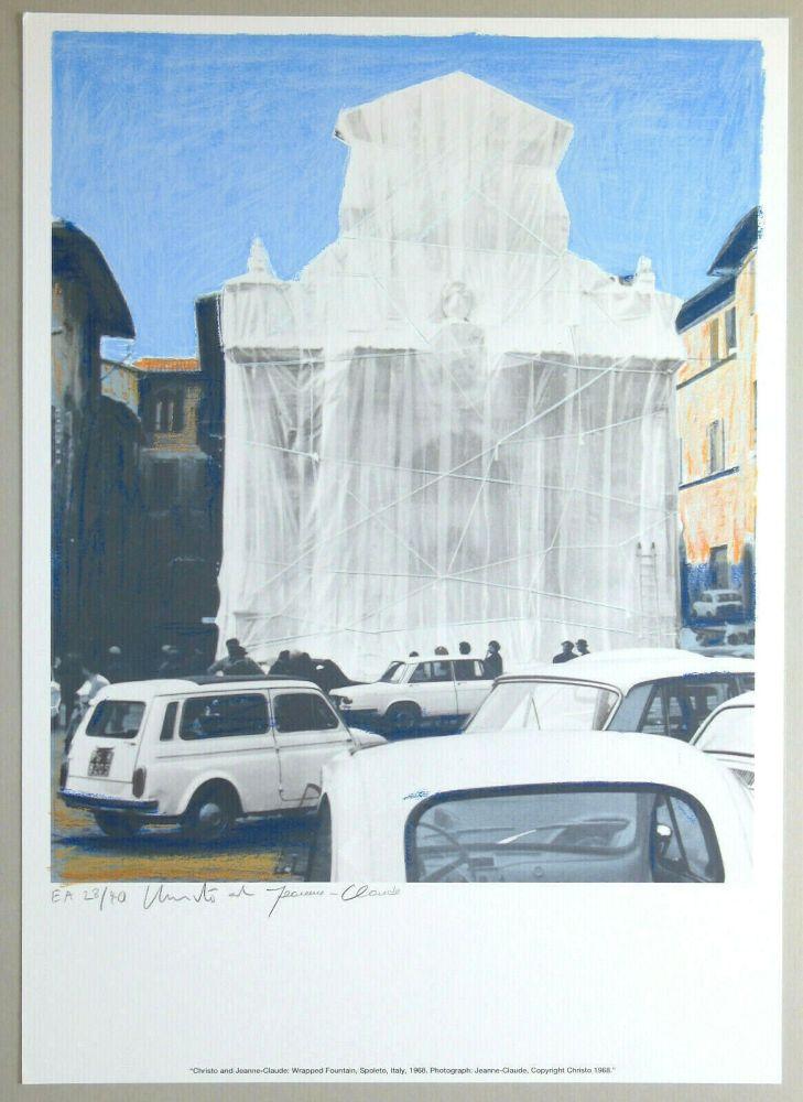 Lithograph Christo - Wrapped fountain, Spoleto 1968