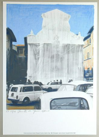 Lithograph Christo - Wrapped fountain, Spoleto 1968