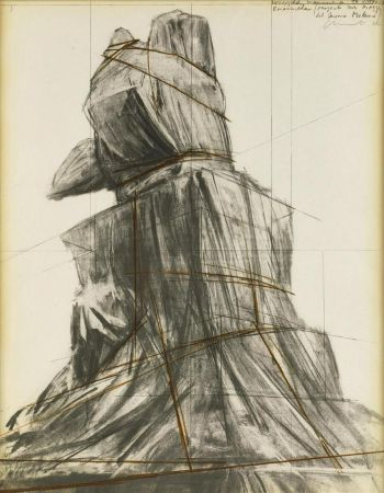 Lithograph Christo - Wrapped monument to Vittorio Emanuele