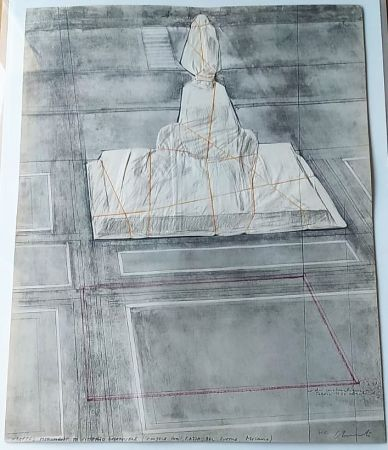 Lithograph Christo - Wrapped monument to Vittorio Emmanuele