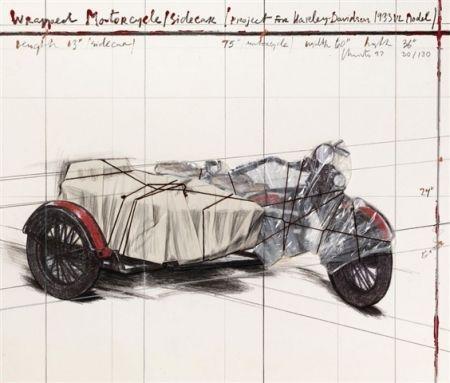 Lithograph Christo - Wrapped Motorcycle/Sidecar