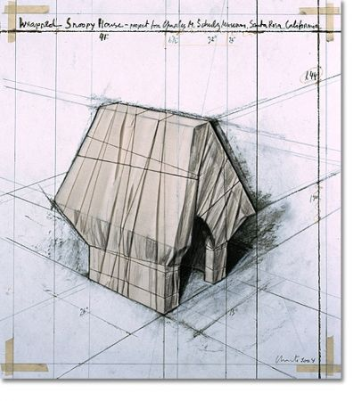 Lithograph Christo - Wrapped Snoopy House