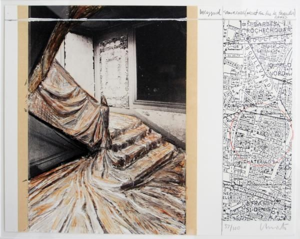 Lithograph Christo & Jeanne-Claude - Wrapped Staircase. 2001. Signed