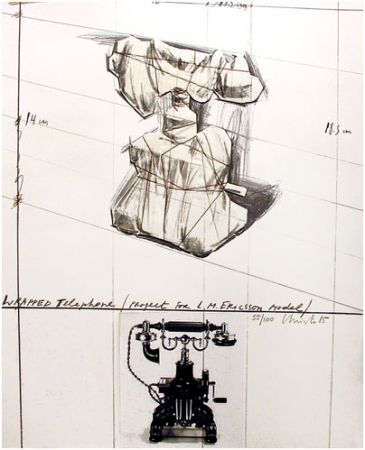 Lithograph Christo - Wrapped Telephone, Project for L.M. Ericsson Model