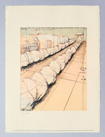 Lithograph Christo - Wrapped trees, project for Avenue des Champs Elysees