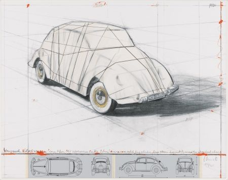 Lithograph Christo - Wrapped Volkswagen (PROJECT FOR 1961 VOLKSWAGEN BEETLE SALOON)
