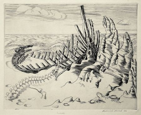 Engraving Mead - Wreck (Wreck on Shore; Wrecked Ship)