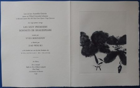 Etching And Aquatint Zao - XXIV Sonnets pour Shakespeare (Menu)
