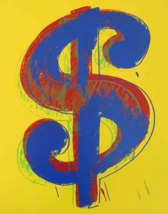 Screenprint Warhol - Yellow Dollar