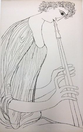 Lithograph Shahn - Young Man Playing Double Oboe