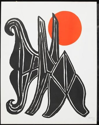 Lithograph Calder - Young Woman And Her Suitors