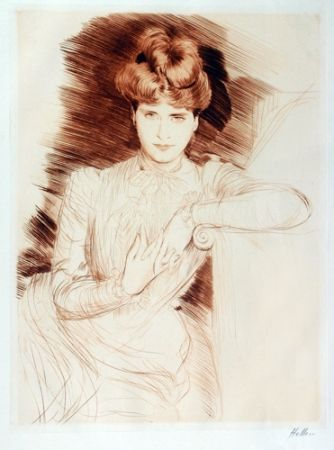 Drypoint Helleu - Young Woman Leaning - Madame Helleu