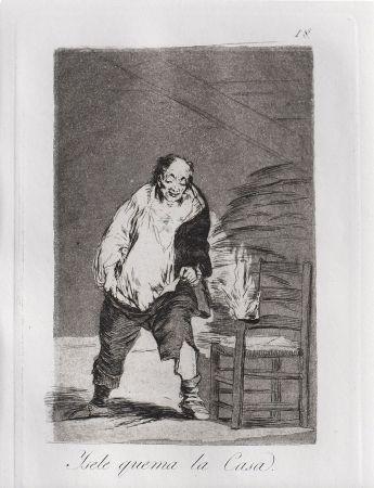 Etching And Aquatint Goya - Ysele quema la casa / And His House Burns Down