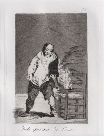 Etching And Aquatint Goya - Ysele quema la casa / And His House Burns Down